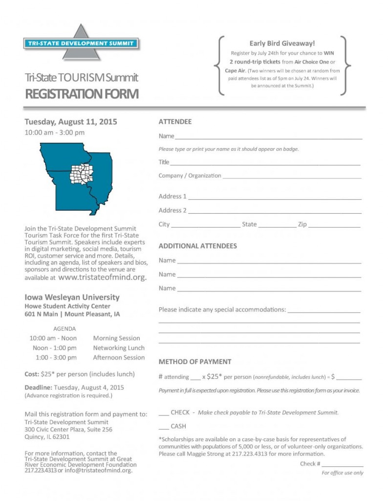 2015 Tourism Summit Registration Form